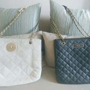 Lot of 2 DKNY quilted leather handbags
